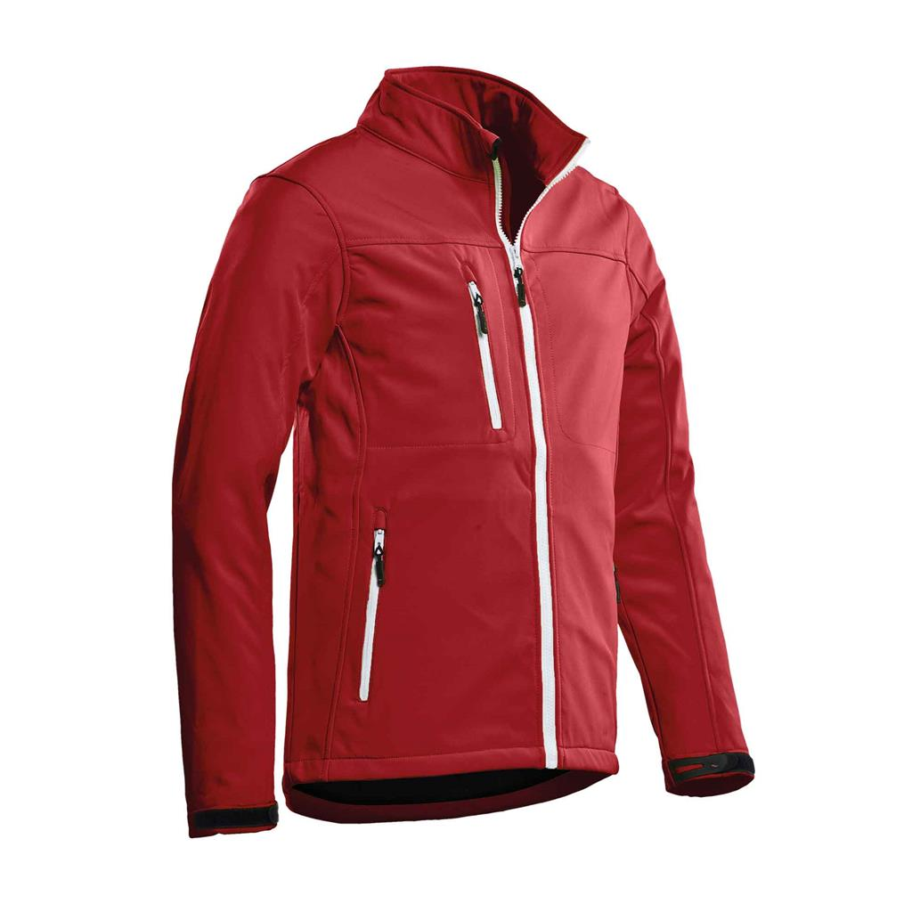 heren softshell jas royal rood