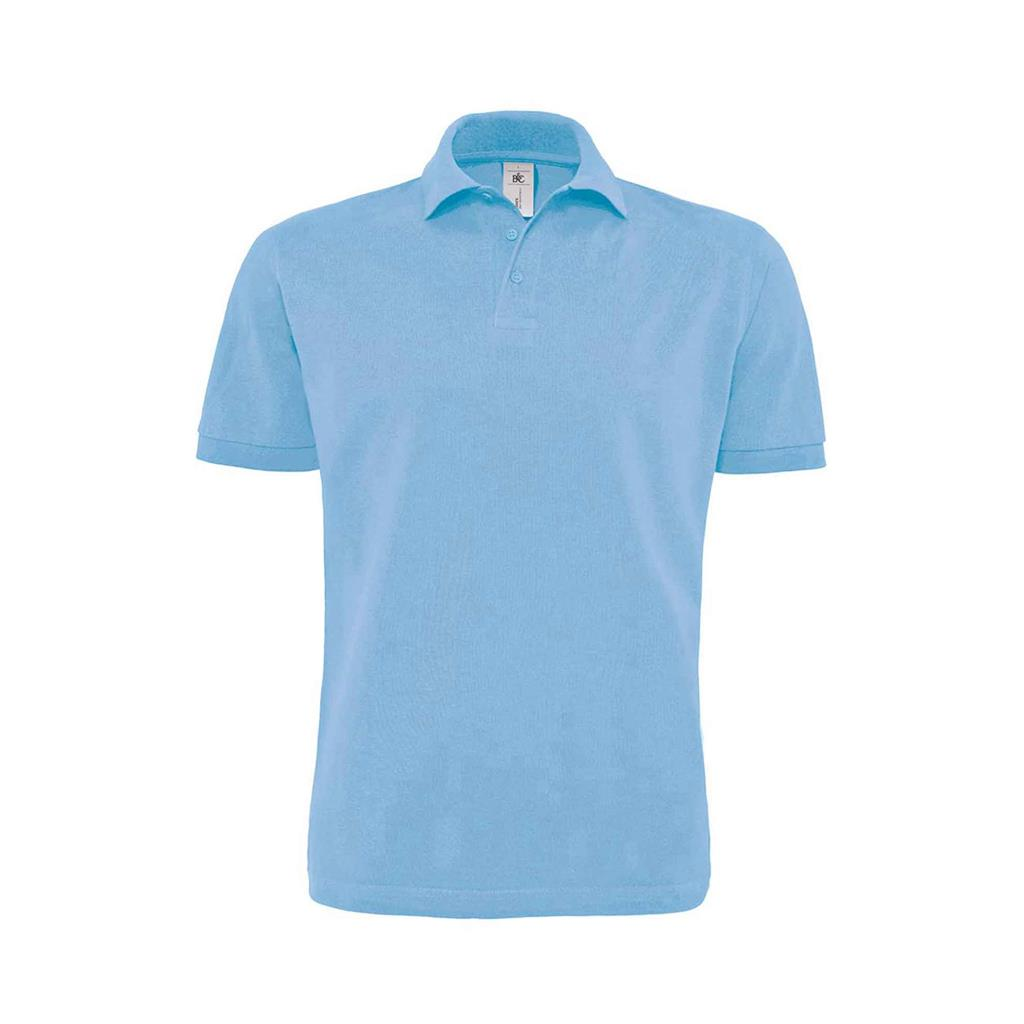 heren polo Heavymill sky blue