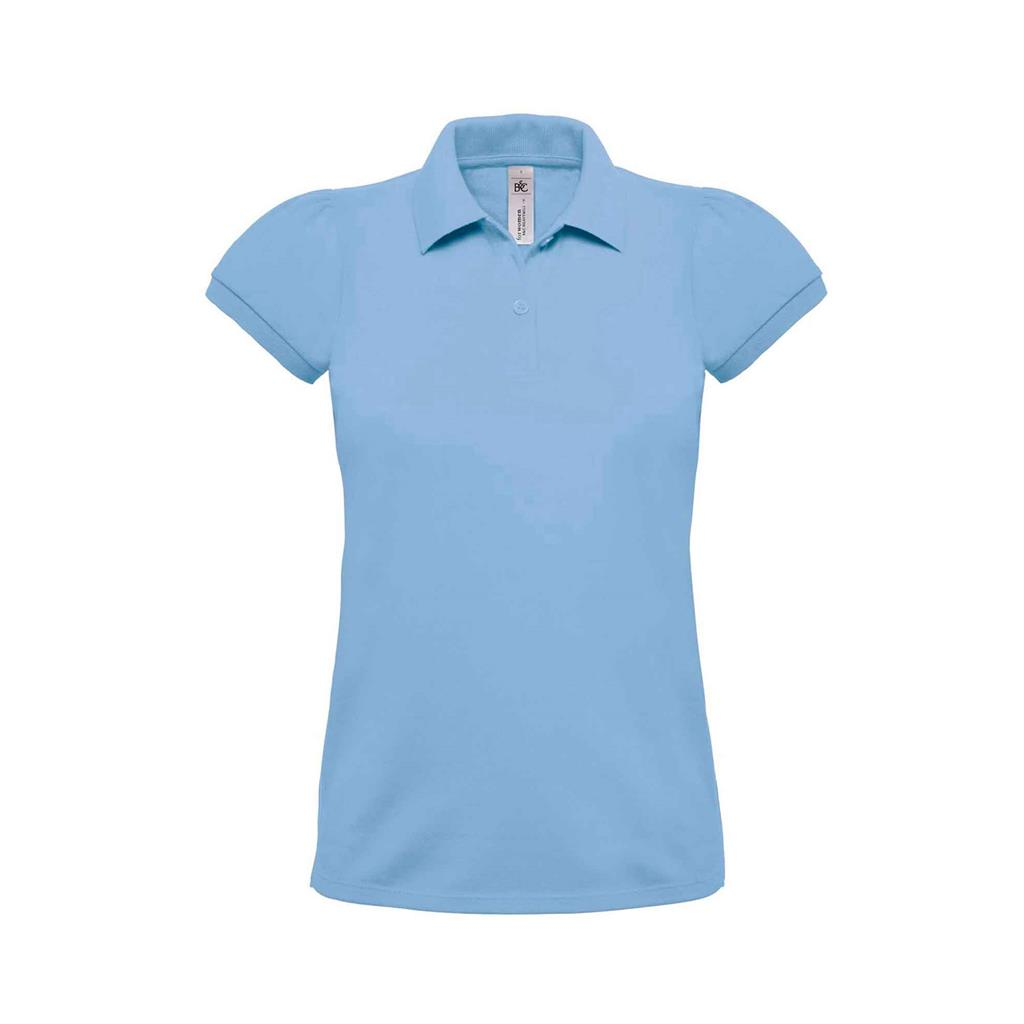 dames polo Heavymill sky blue