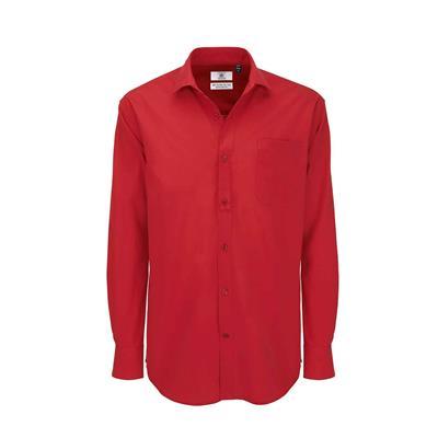 heren blouse Heritage lange mouw rood