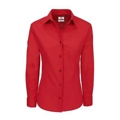 dames blouse Heritage lange mouw rood