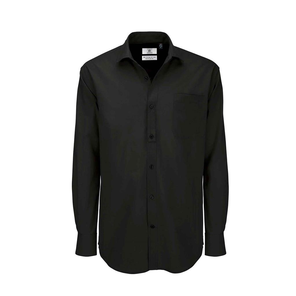 heren blouse Heritage lange mouw zwart