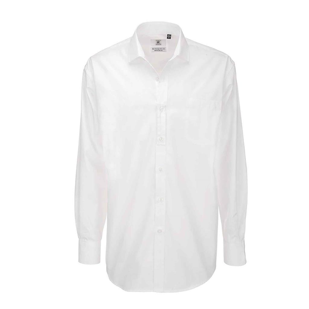 heren blouse Heritage lange mouw wit