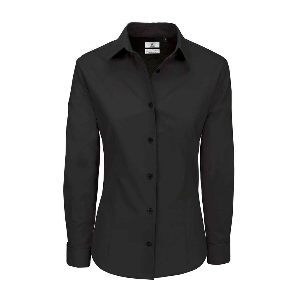 dames blouse Heritage lange mouw zwart