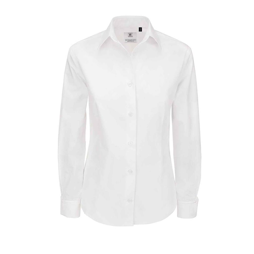 dames blouse Heritage lange mouw wit