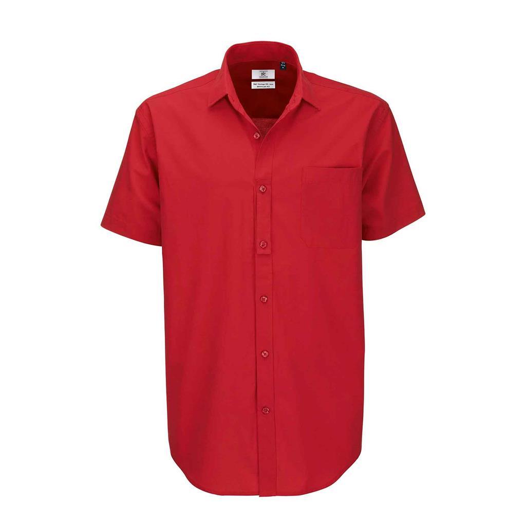 heren blouse Heritage korte mouw rood