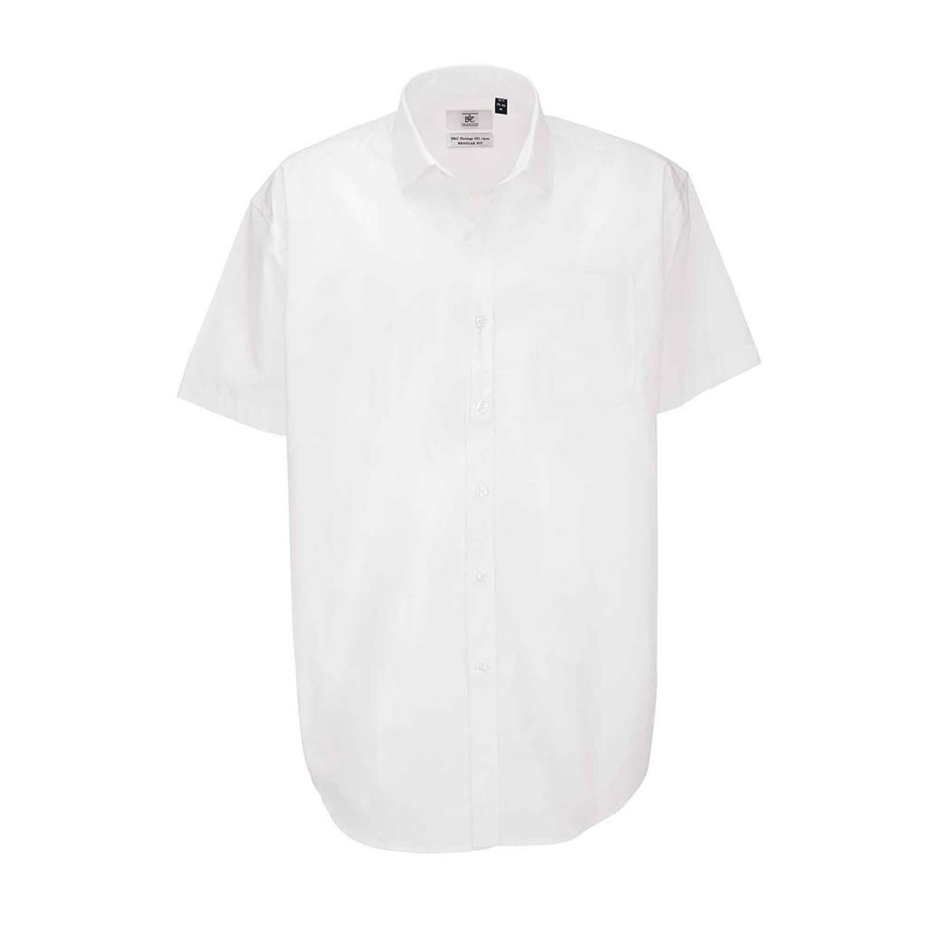 heren blouse Heritage korte mouw wit