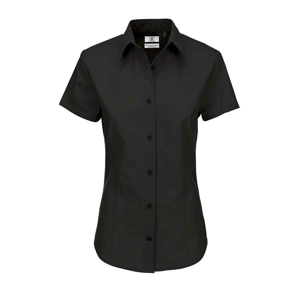 dames blouse Heritage korte mouw zwart