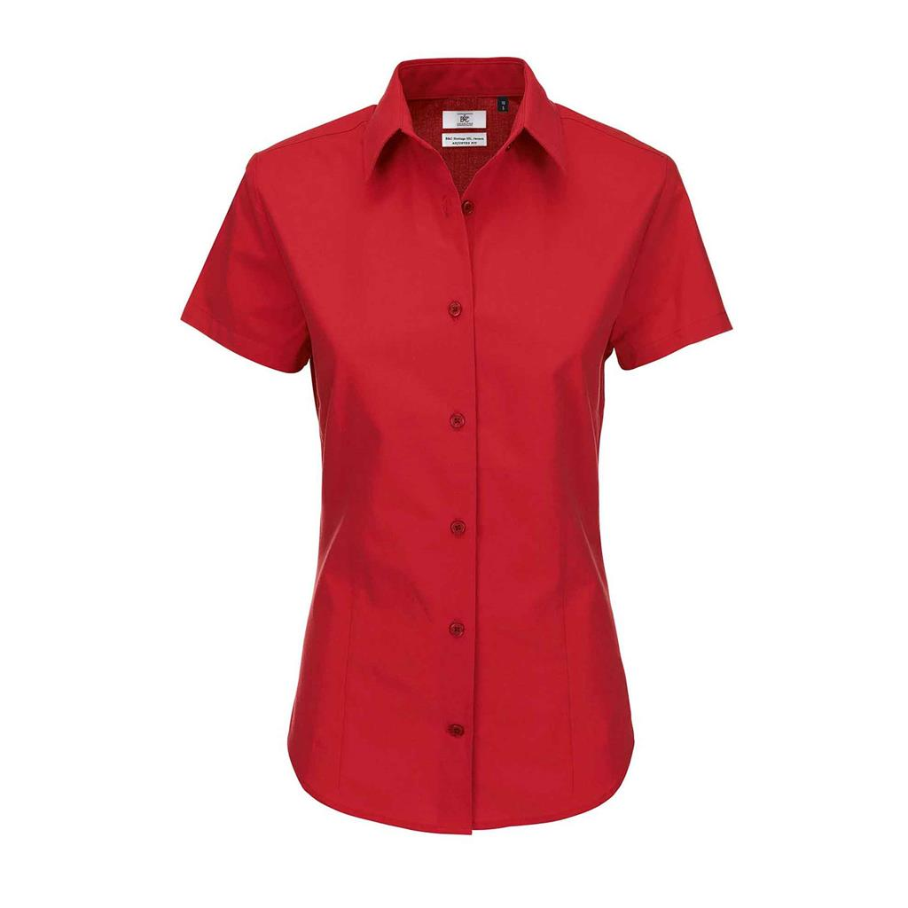 dames blouse Heritage korte mouw rood