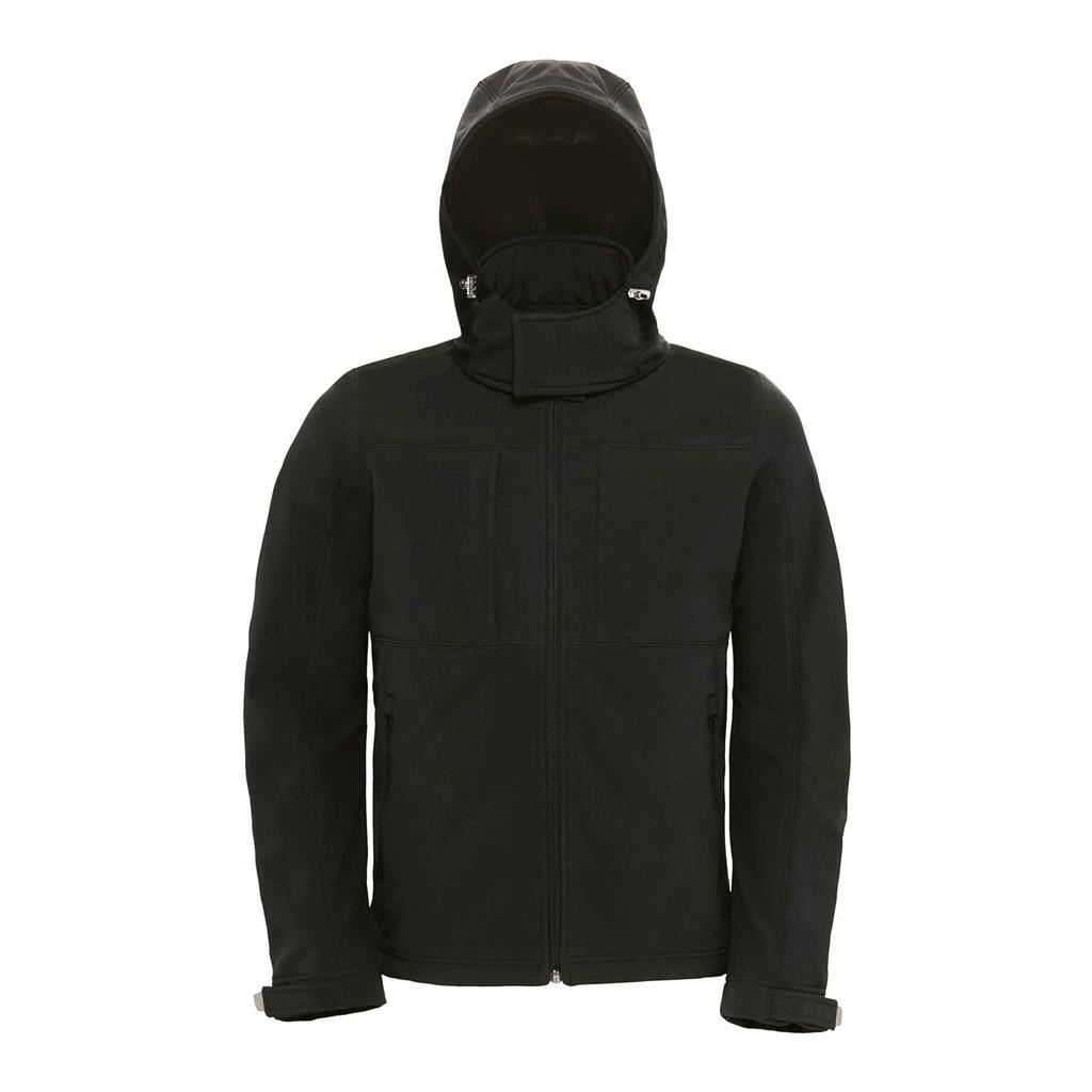 heren jas hooded softshell zwart