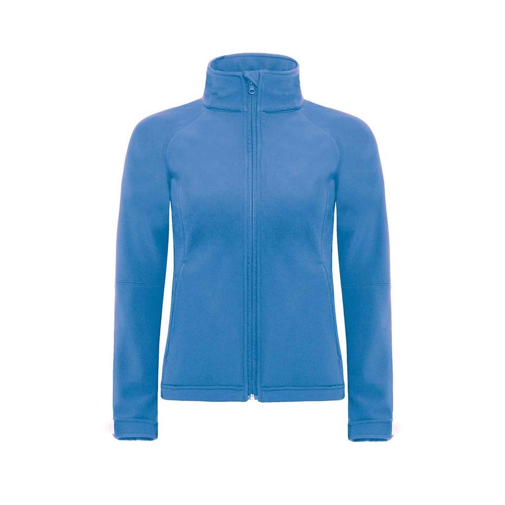 dames jas hooded softshell azuur blauw