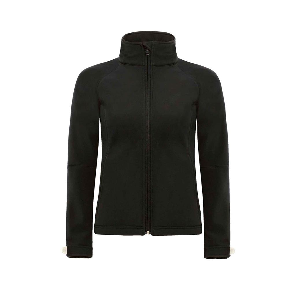 dames jas hooded softshell zwart