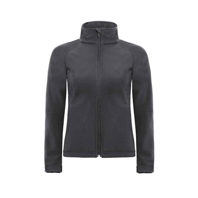 dames jas hooded softshell donker grijs