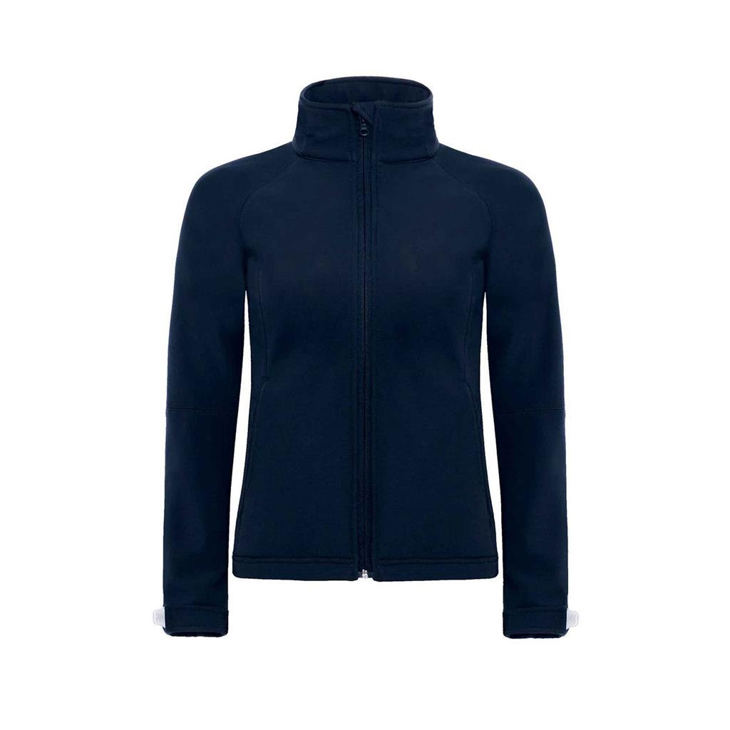 dames jas hooded softshell navy