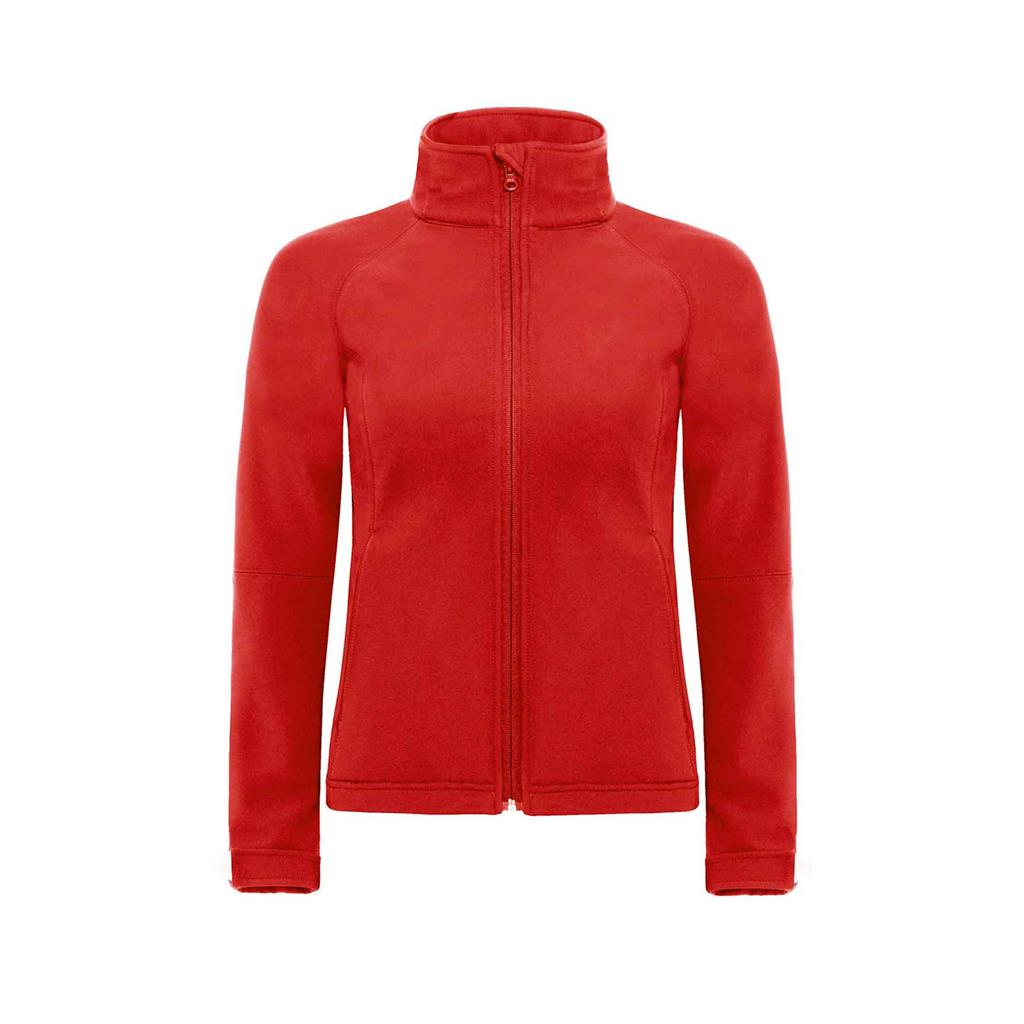 dames jas hooded softshell rood
