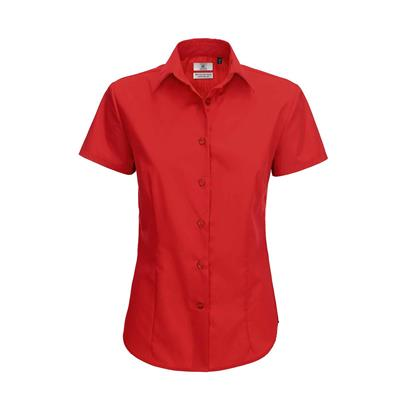 dames blouse Smart korte mouw rood