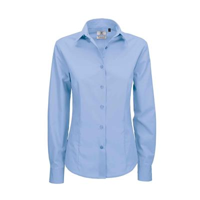 dames blouse Smart lange mouw business blue