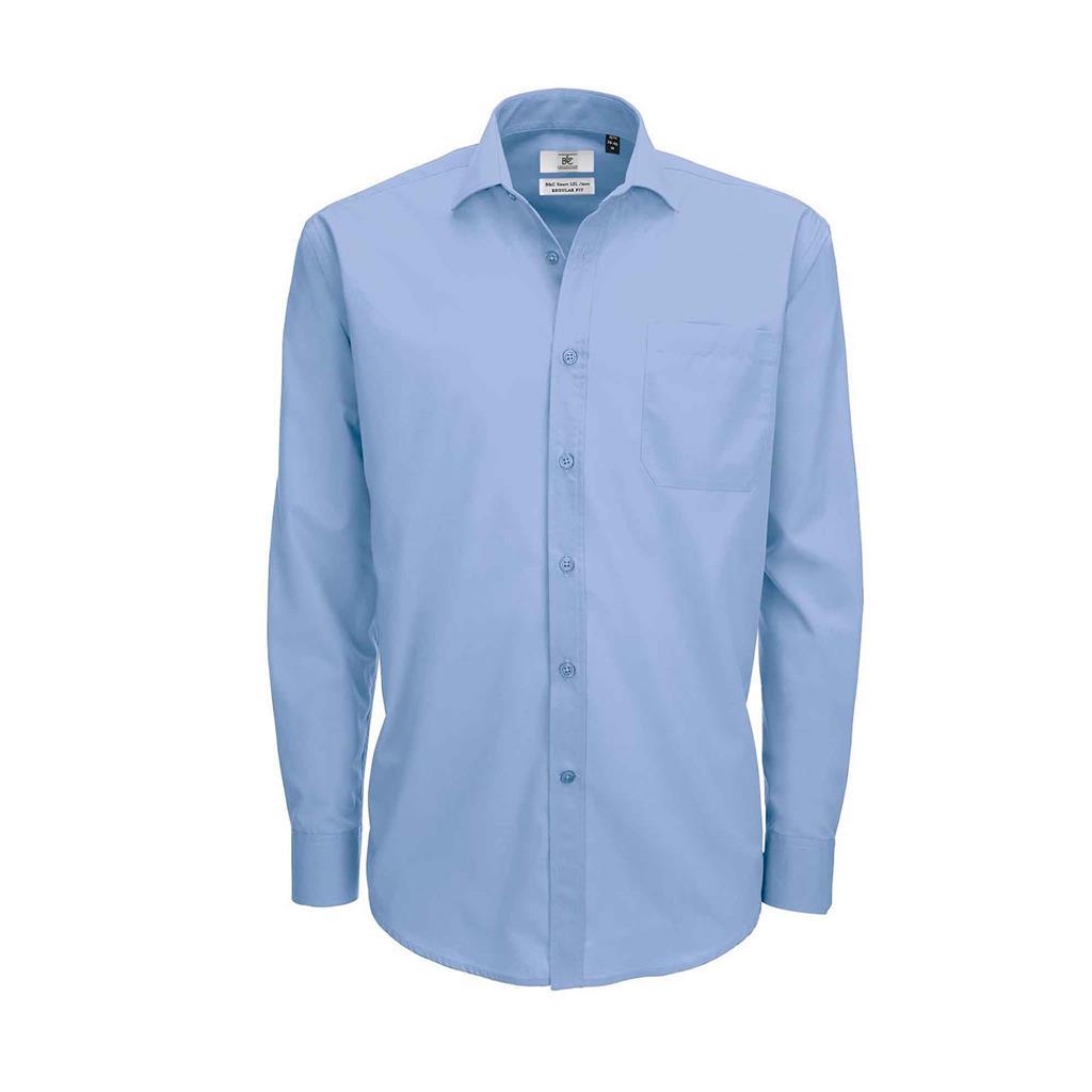 heren blouse Smart lange mouw zakelijk blauw