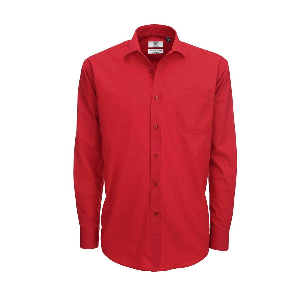 heren blouse Smart lange mouw rood