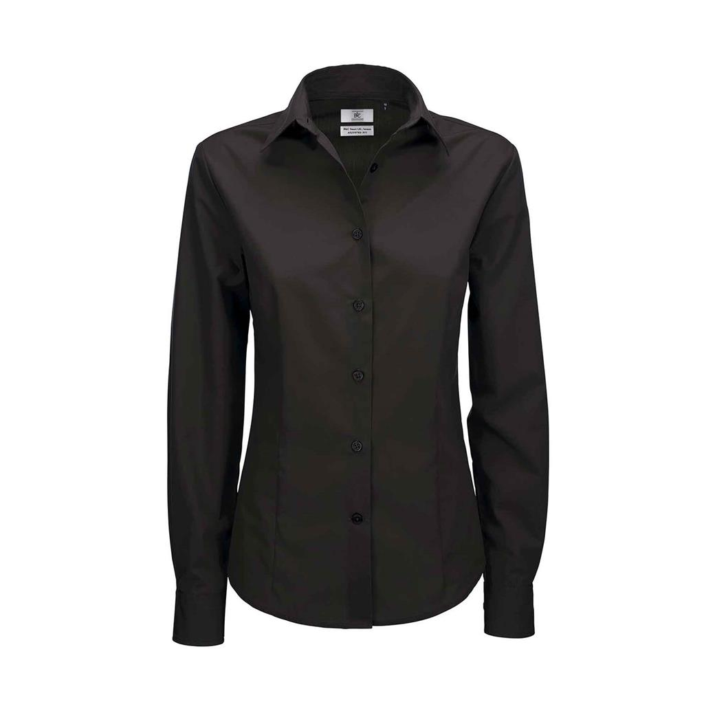 dames blouse Smart lange mouw zwart