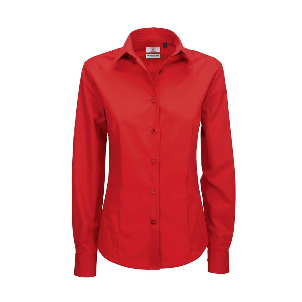 dames blouse Smart lange mouw rood