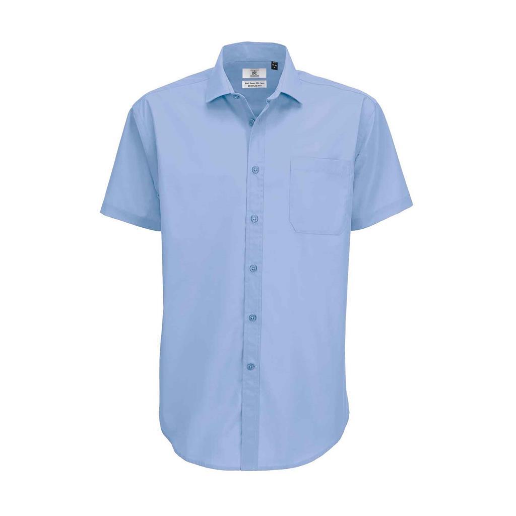 heren blouse Smart korte mouw busuness blauw
