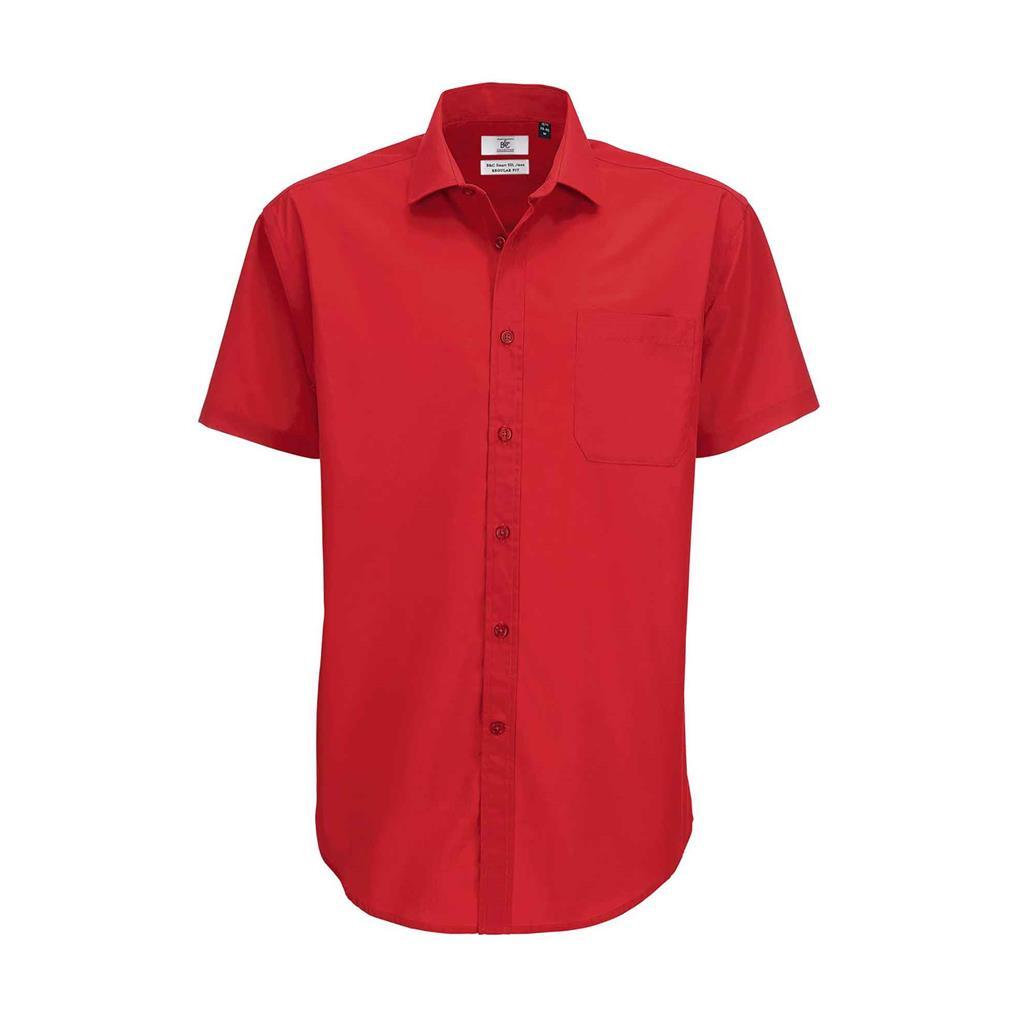 heren blouse Smart korte mouw rood