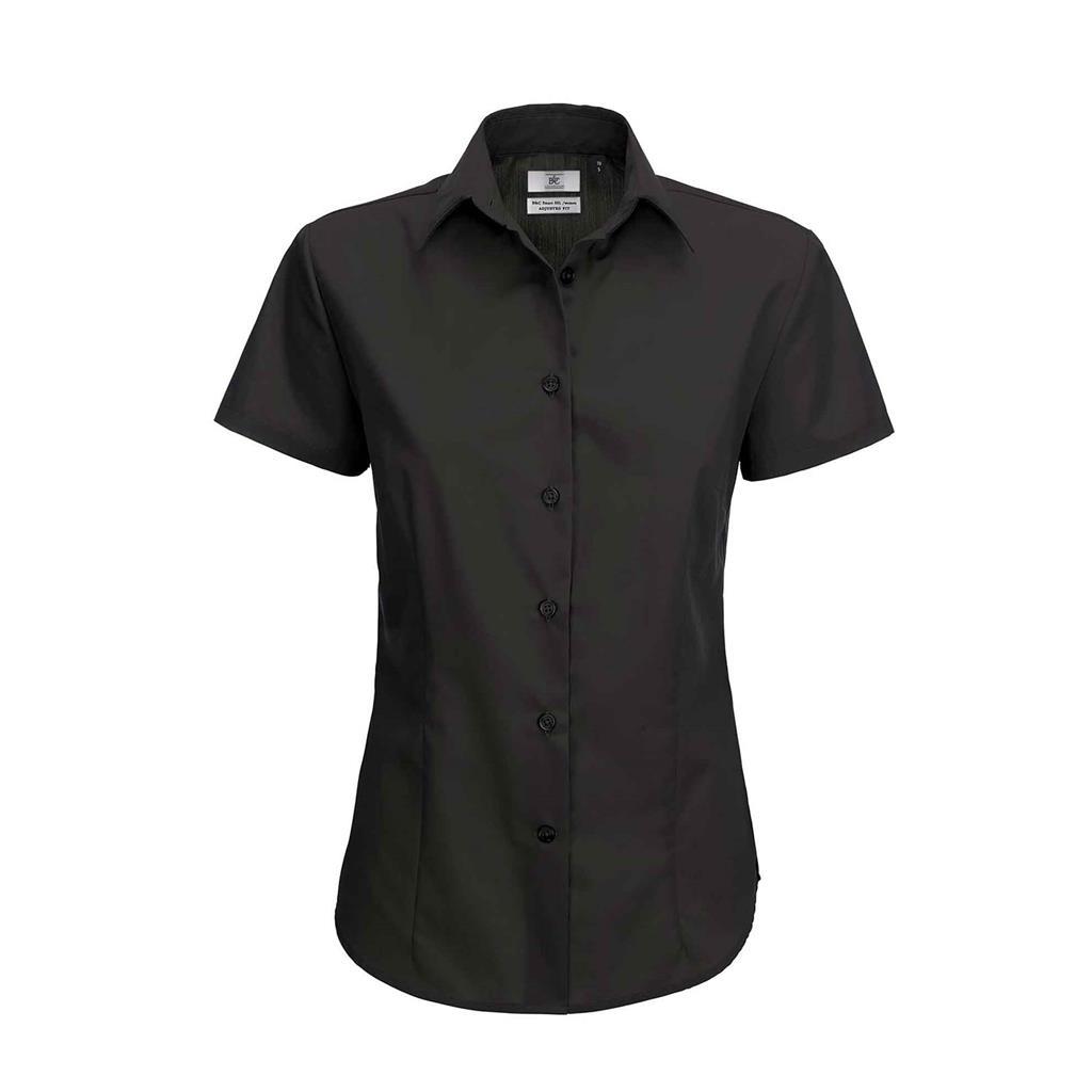 dames blouse zwart korte mouw