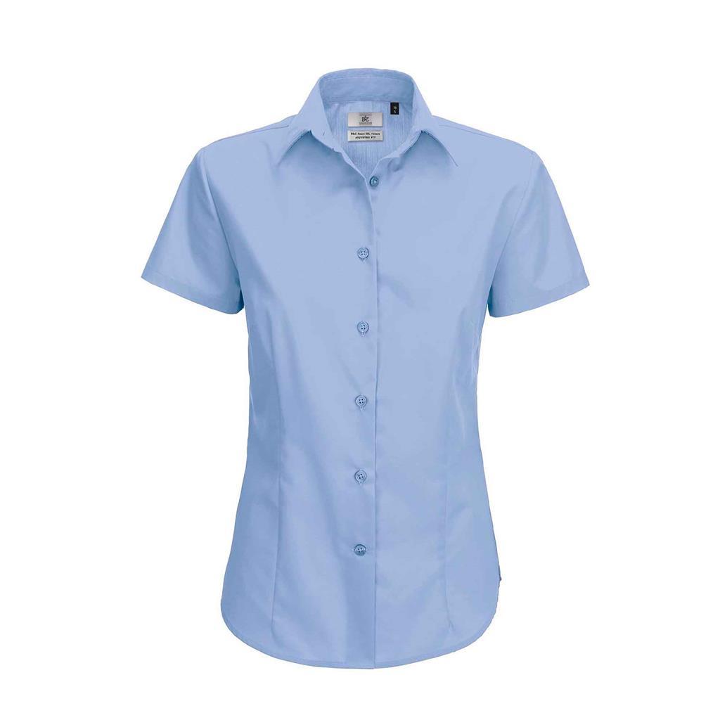 dames blouse Smart korte mouw business blauw
