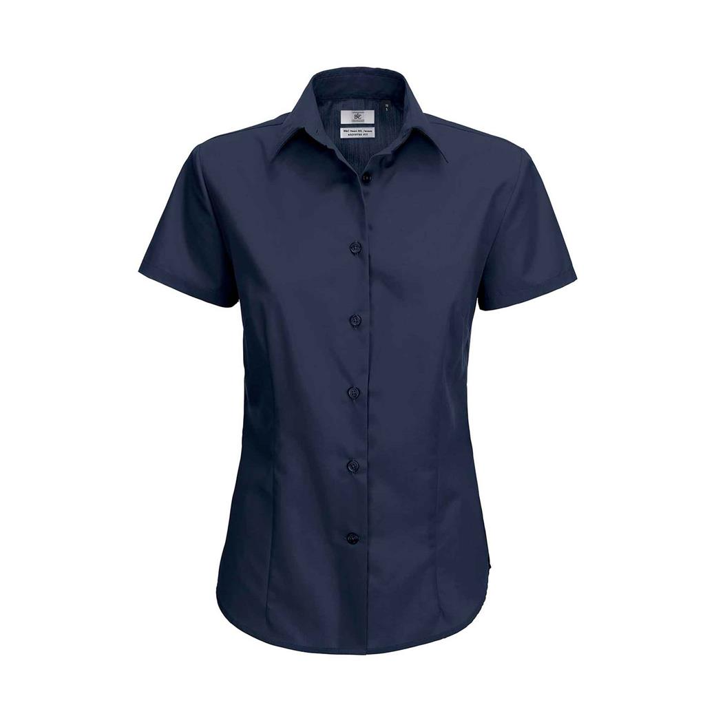dames blouse Smart korte mouw navy