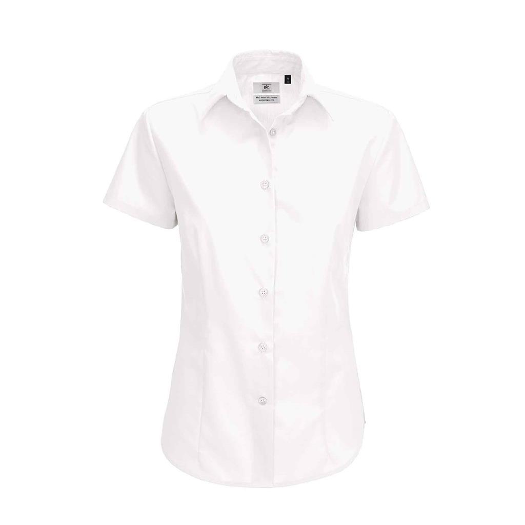 dames blouse Smart korte mouw wit