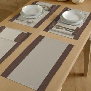 Modern Italiaans tafellinnen creme/kastanje