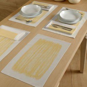 Modern Italiaans tafellinnen wit/geel