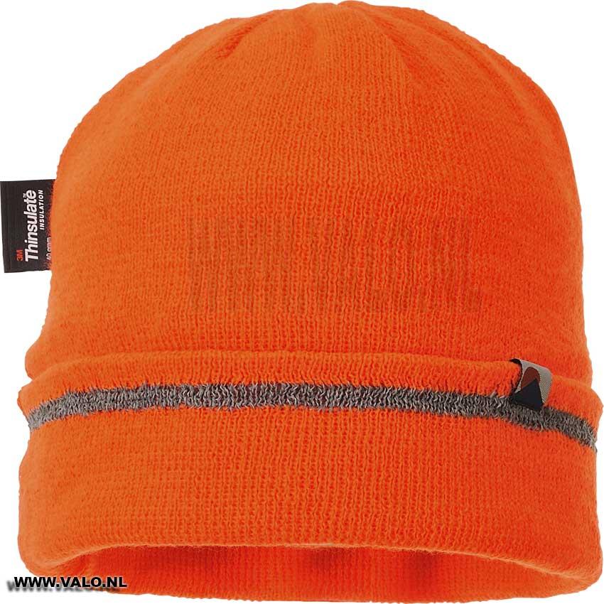 gebreide muts oranje reflecterende trim